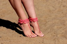 Crochet Coral Barefoot Sandals Foot Jewelry Bridesmaid