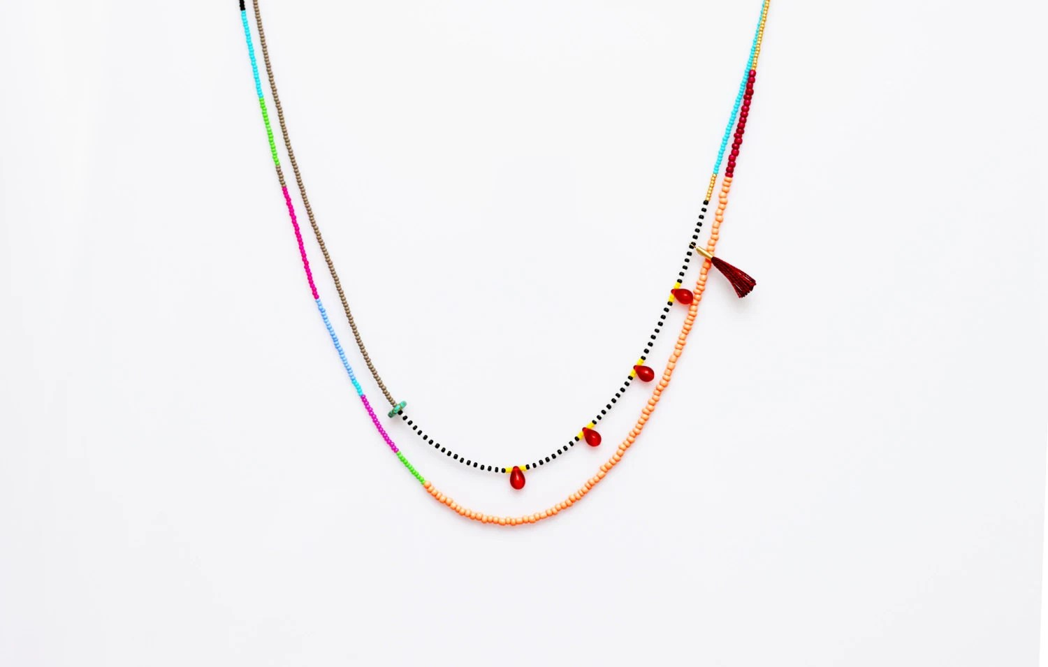 Tribal Seed Bead Necklace Glass Bead Necklace Layered