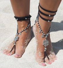 Barefoot Sandals. Black Hippie Shoes. Gypsy Bellydance Shoes