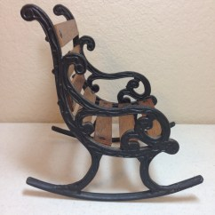 Iron Rocking Chair Side Table Vintage Miniature Wood With Black Wrought