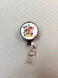 Disney badge reel mickey mouse badge reel rhinestone by ...