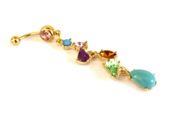 Dangle Belly Button Ring Gold And Multicolor Piercing
