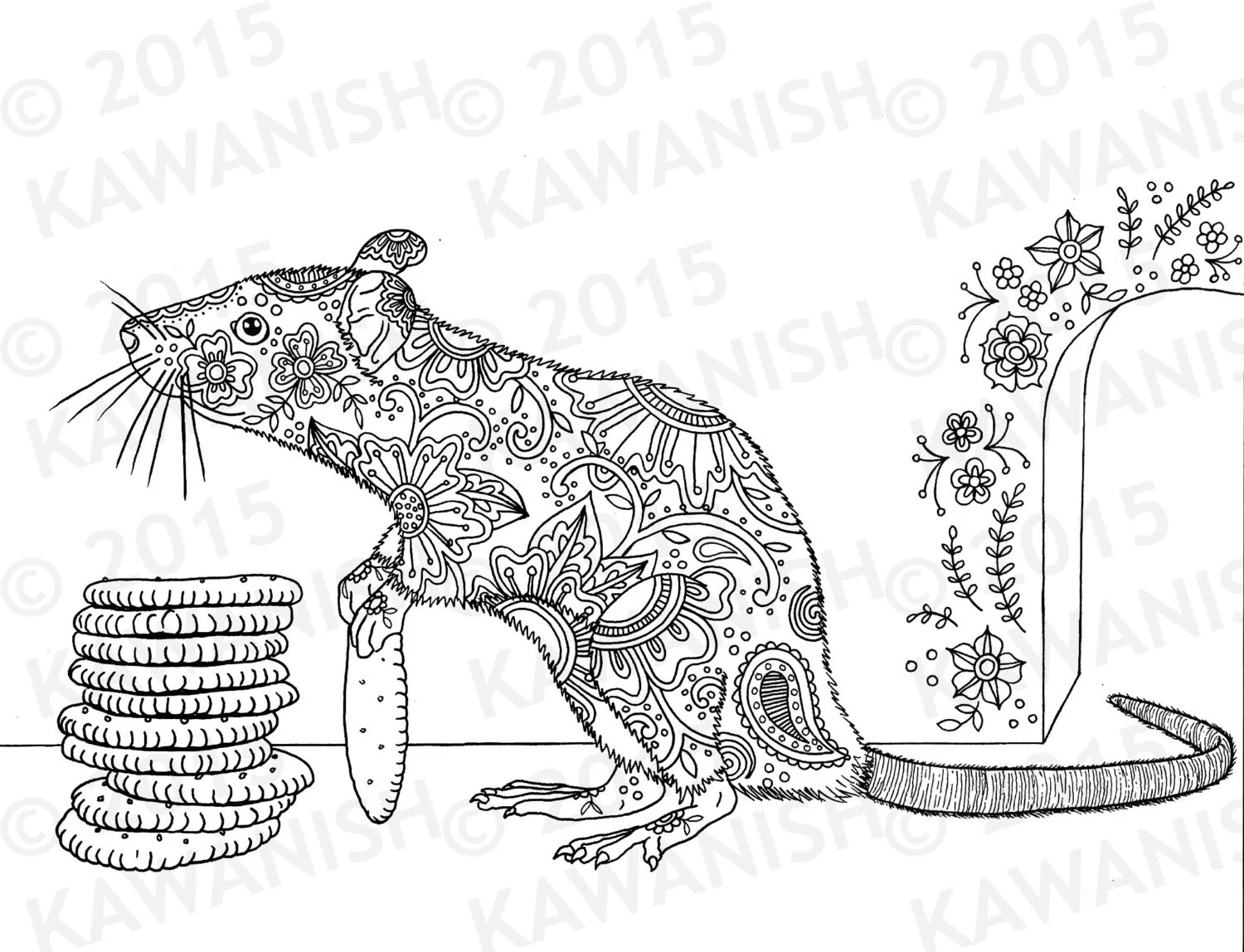 Cracker Stacker Rat Adult Coloring Page Gift Wall Art Floral