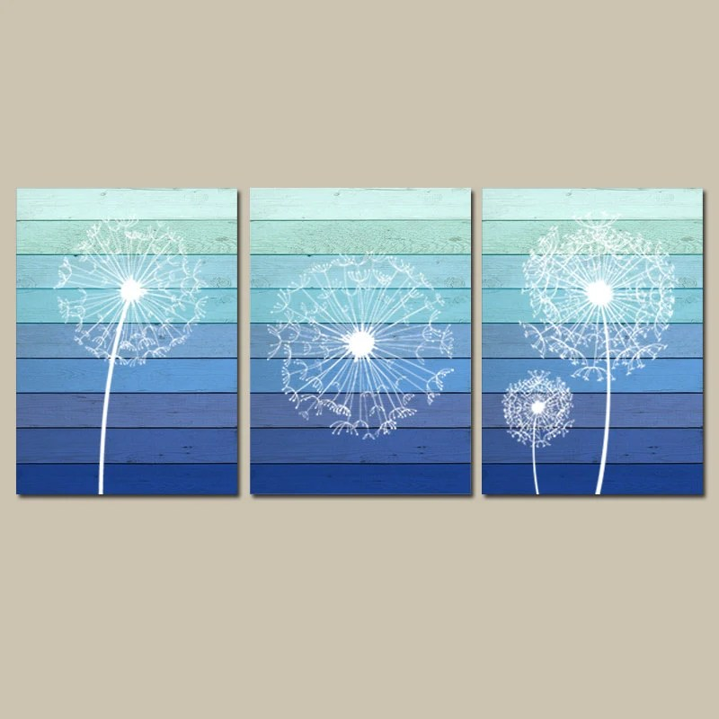 DANDELION Wall Art Canvas or Prints OMBRE Wood Effect Blue