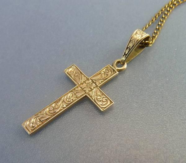 Antique Victorian 14k Gold Cross Pendant Necklace