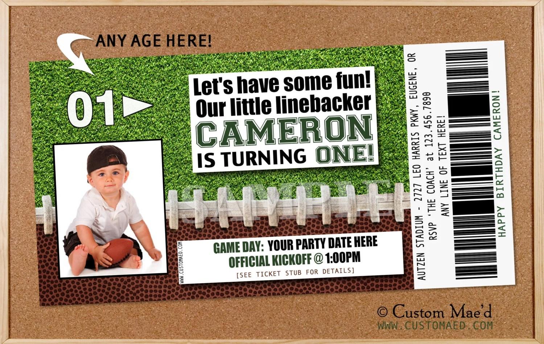 football ticket birthday invitation