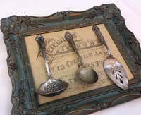 Vintage Silverware Framed Wall Art with Hotel Typography