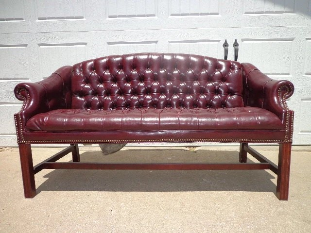 hickory chair leather couch rolling stand vintage oxblood sofa loveseat rustic