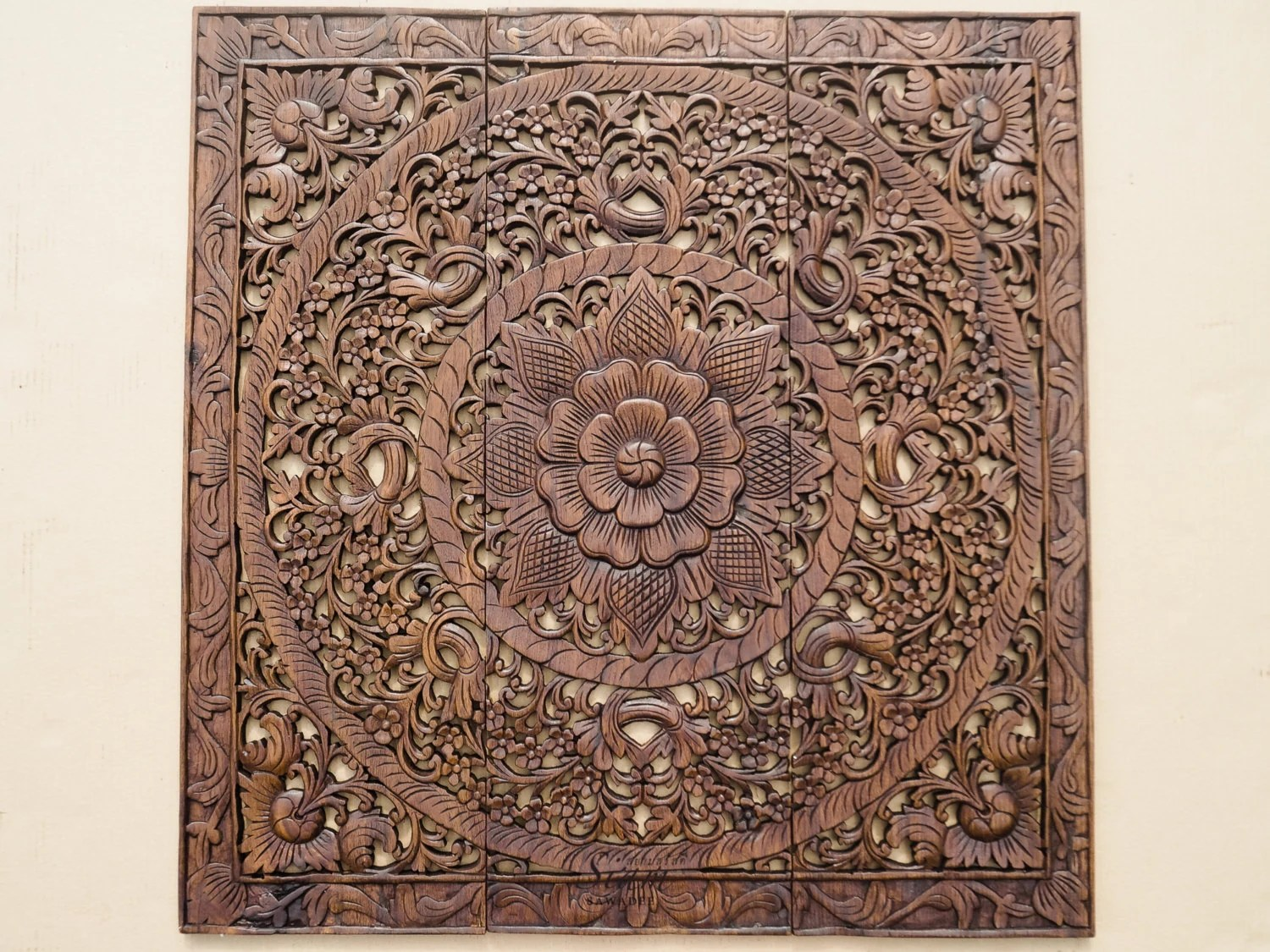 Wall Art Decor. Carved Wood Panel. Asian Home by SiamSawadee