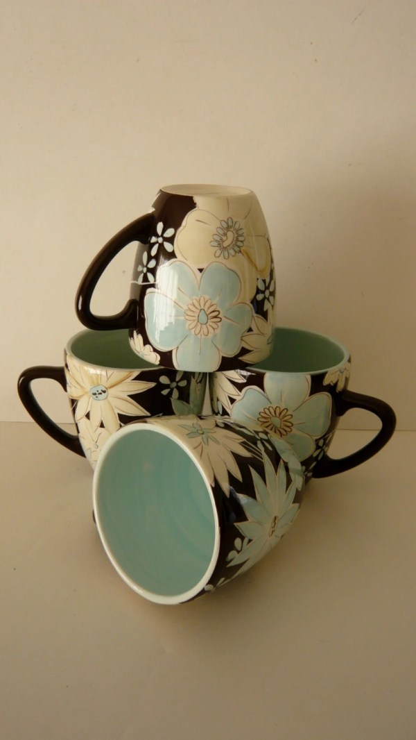 Laurie Gates Stoneware Mugs Casual Blues by ManyAMoonsVintage