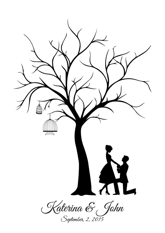 Leinwand Hochzeit Tree Guest Book Brutigam und Braut Hand
