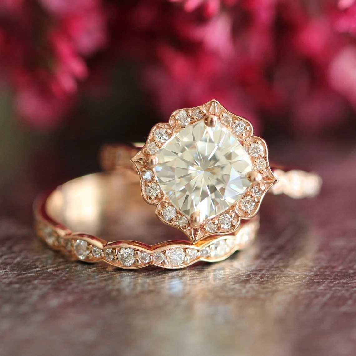 14k Rose Gold Moissanite Engagement Ring Wedding Set Scalloped