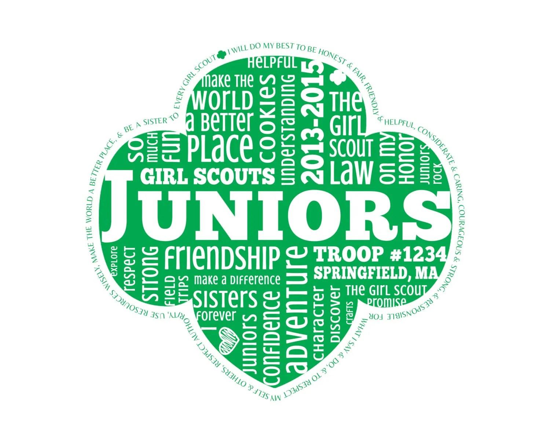 Personalized Juniors Girl Scouts Word Art Digital Image