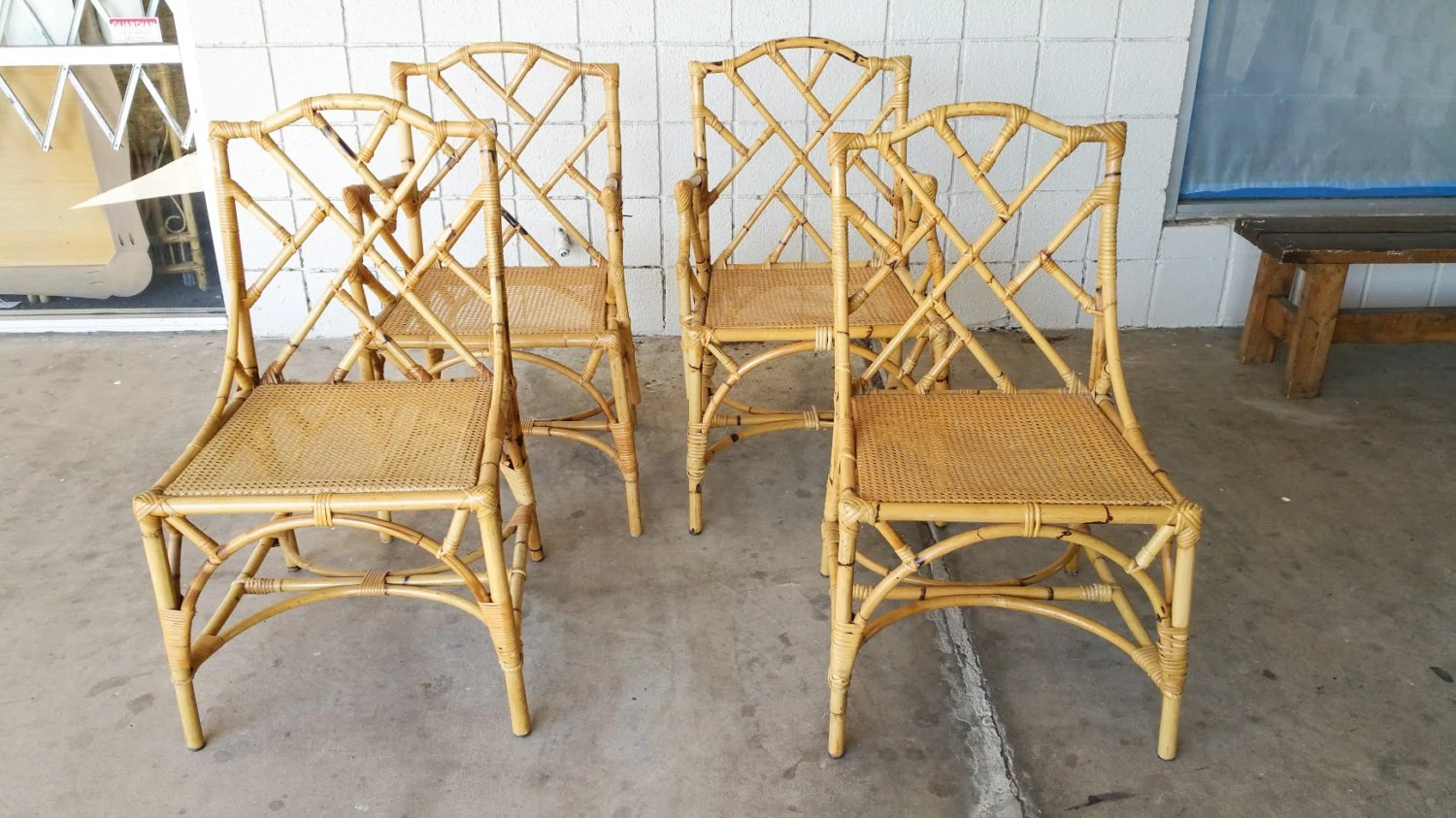 chinese chippendale chairs bent wood rattan set of 4