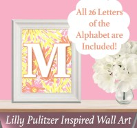 Lilly Pulitzer Inspired ALPHABET Wall Art SUNKISSED