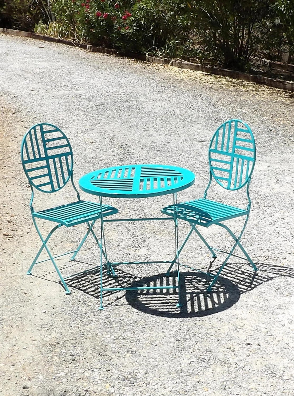 turquoise patio chairs plastic chair rail manufacturers bistro set table 2 aqua teal metal modern
