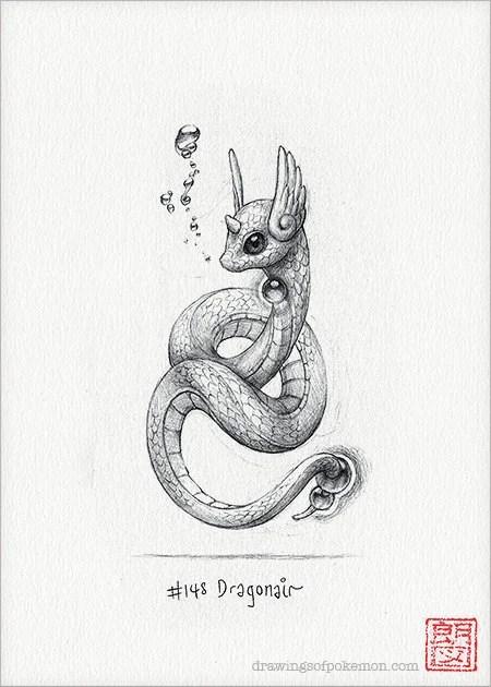 Dragonair 5 x 7 print pokemon drawing art artwork