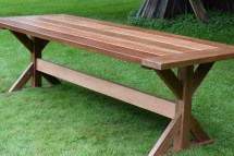 Lucy Mahogany Outdoor Dining Table Trestle