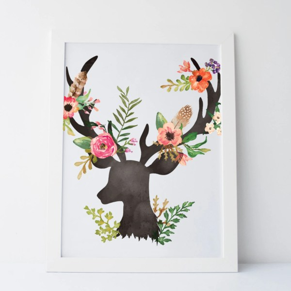Printable Art Floral Deer Wall Print