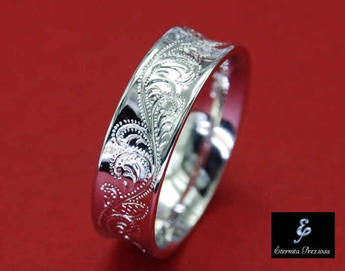 6mm Concave Sterling Silver Ring Flower Ornate Hand Engraved