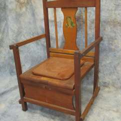 Wooden Potty Training Chair Wing Slipcover Pattern Wood Vintage Mid Century Toilet Commode