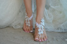 Barefoot Sandals Ivory Beach Wedding Shoes Elegant