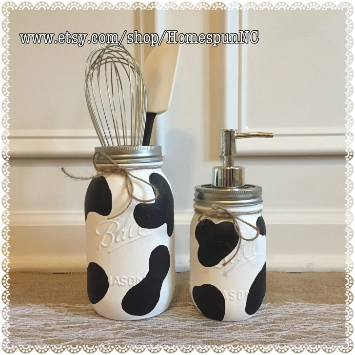 Cow Print Mason Jar Kitchen Decor Set Homespunnc