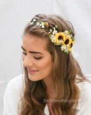 sunflower flower crown with green