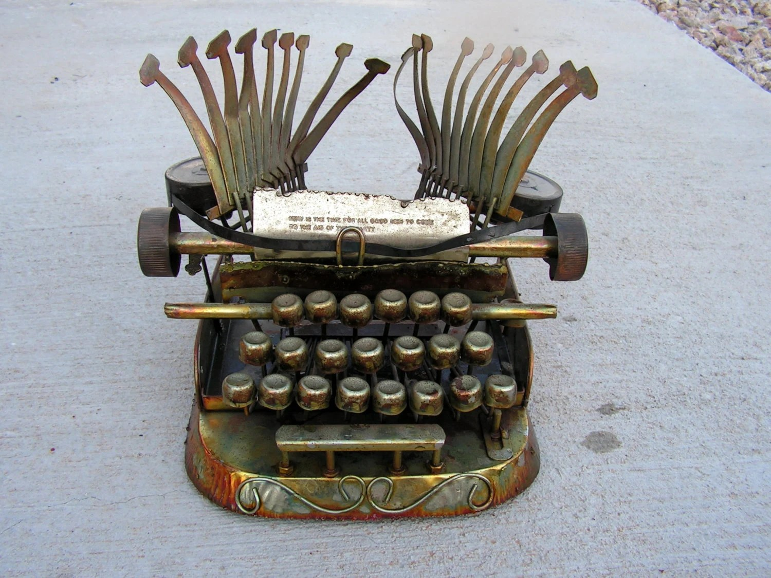 Vintage Abstract Copper Metal Typewriter Sculpture By Enesco