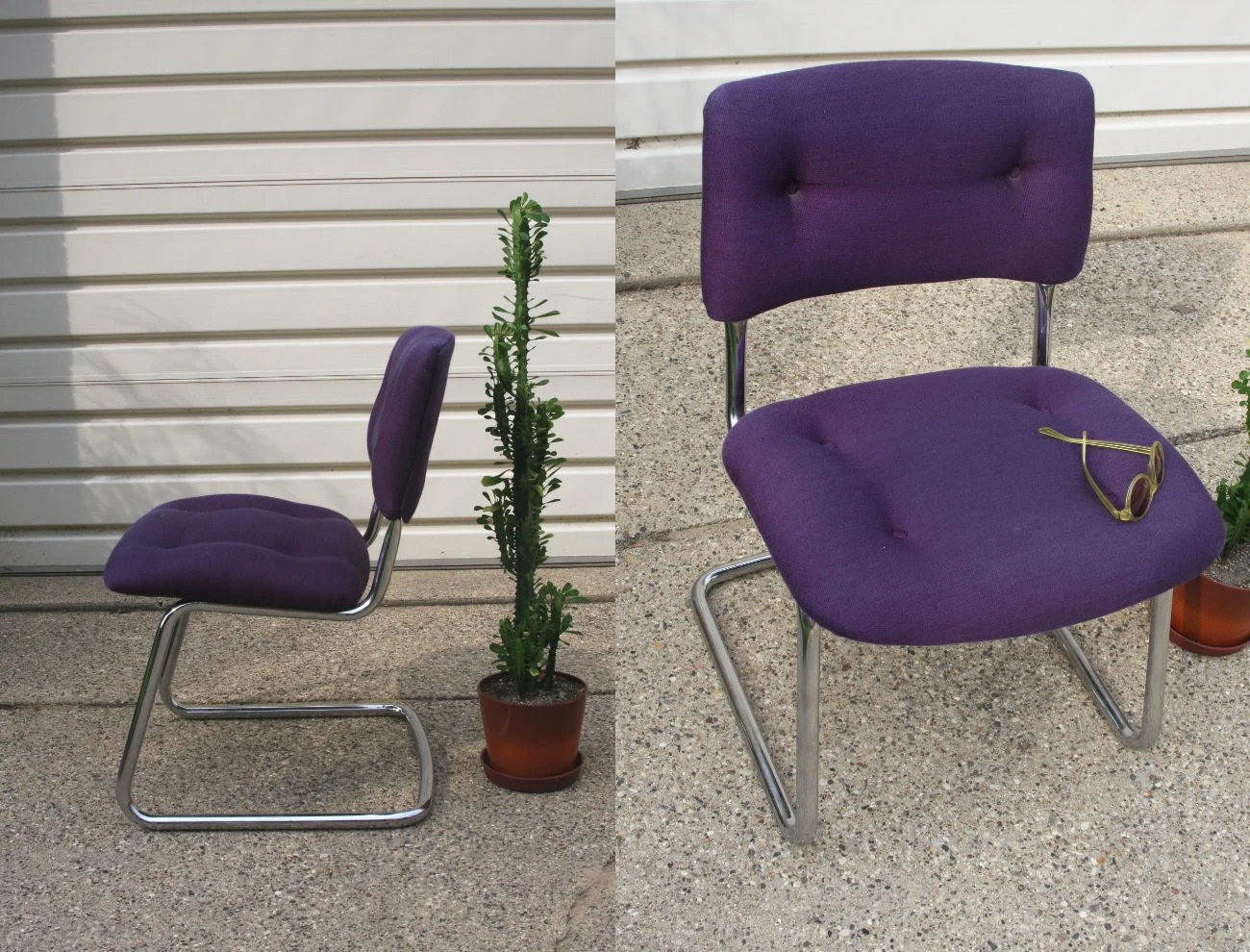 steelcase vintage chair white chairs for wedding chrome purple excellent condition