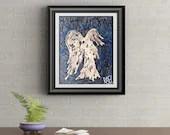 Blue Drip Angel Signed Signature Art Print By Rafi Perez