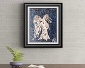 Blue Drip Angel Signed Signature Art Print By Rafi Perez