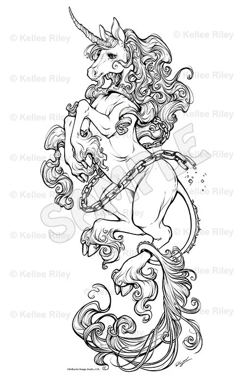 Unicorn Adult Coloring Pages by KelleeArt on Etsy