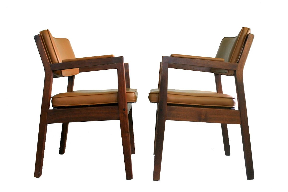 Mid Century Modern Walnut Side Chairs Gunlocke Style Solid