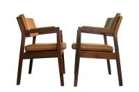 Mid Century Modern Walnut Side Chairs Gunlocke Style Solid