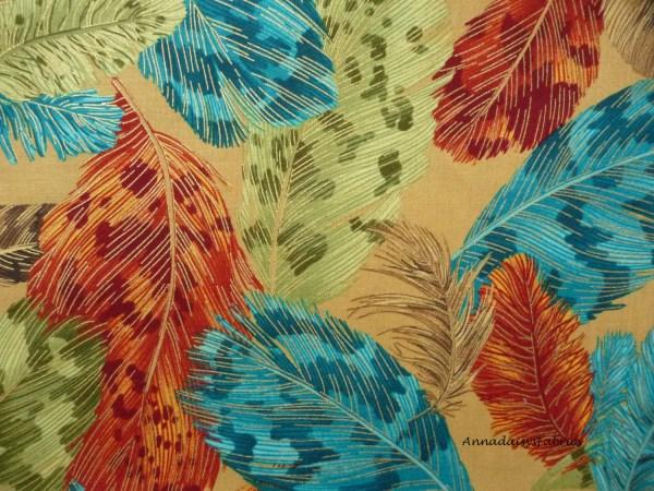 Metallic Teal Rust Fabric Cotton
