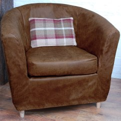 Ikea Tub Chair Covers Uk Space Saver High Tray Tullsta Slipcover Dark Tan Distressed Leather Look Fabric