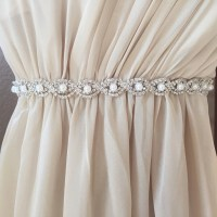 Thin Silver Crystal and Pearl Rhinestone Belt Bridal Belt or