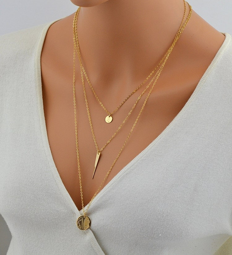 gold disc necklace monogram
