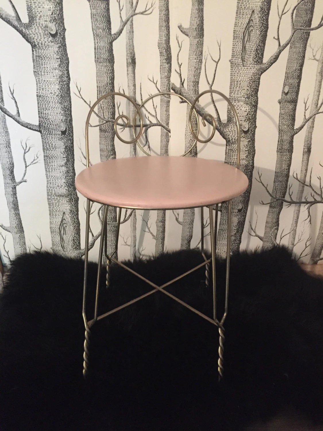 pink vanity chair covers oriental trading vintage gold metal with light seat