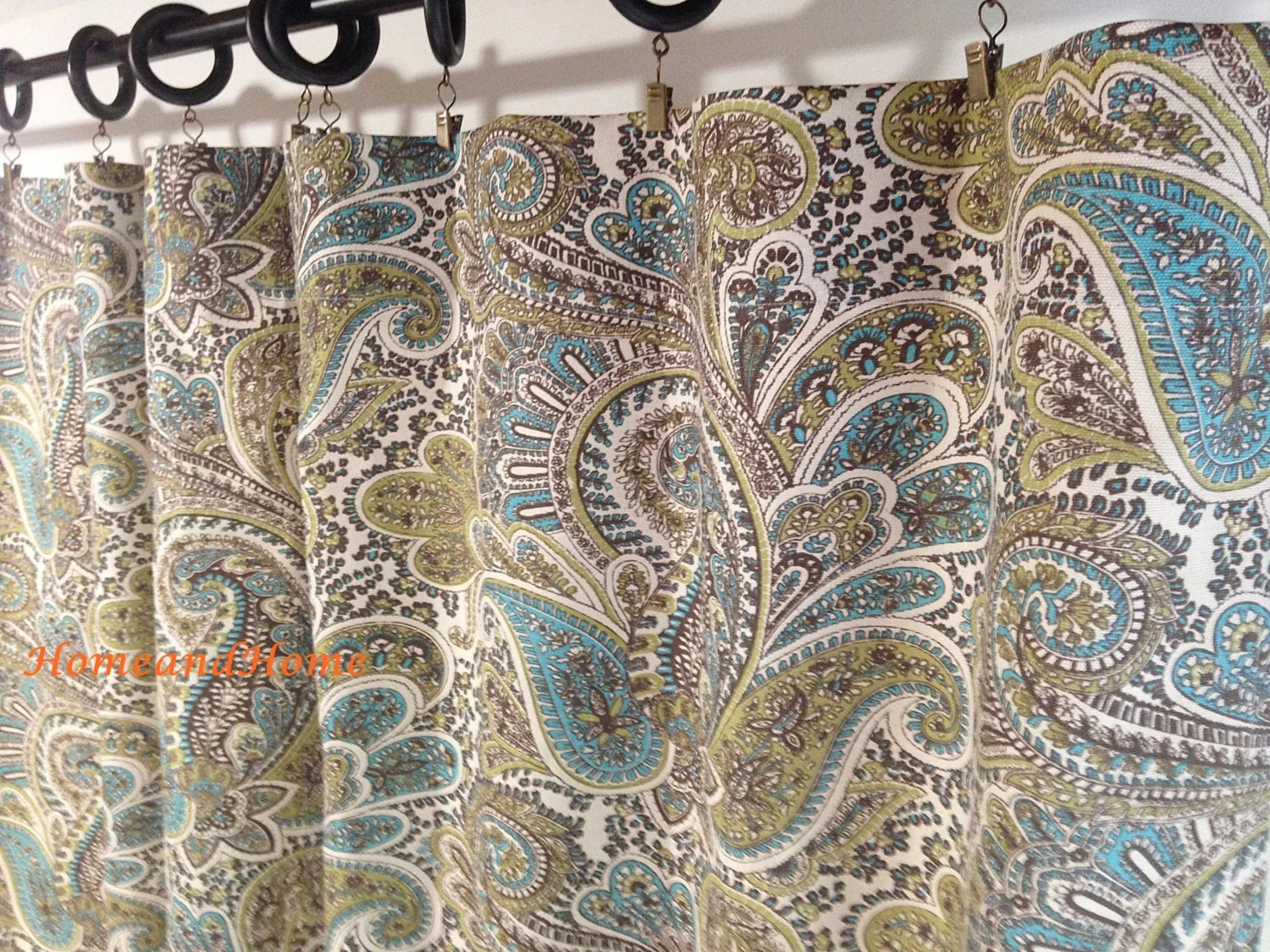 paisley curtains blue