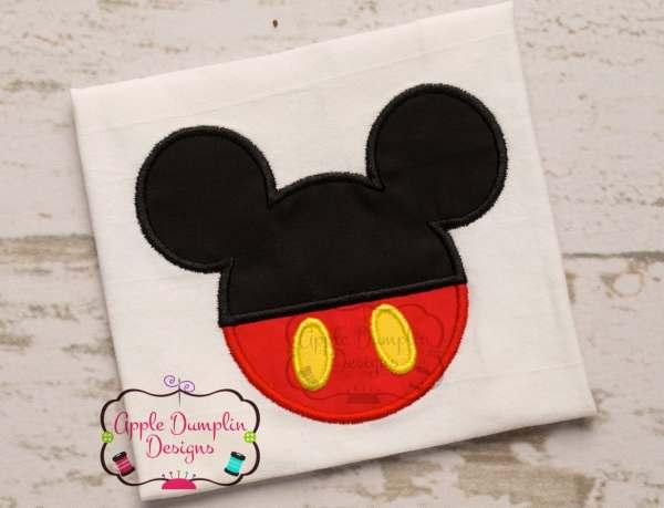 Cute Mickey Mouse Head Machine Embroidery Appliqu Design