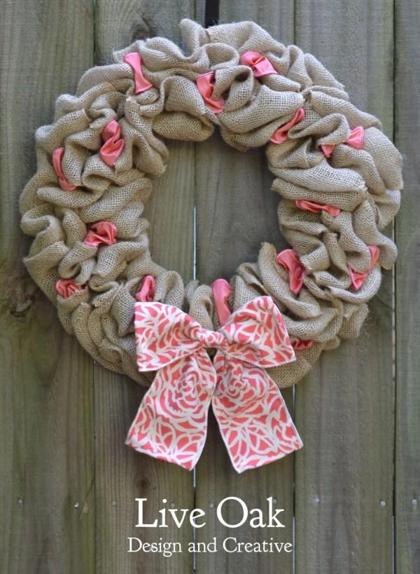 Burlap And Pink Ribbon Wreath