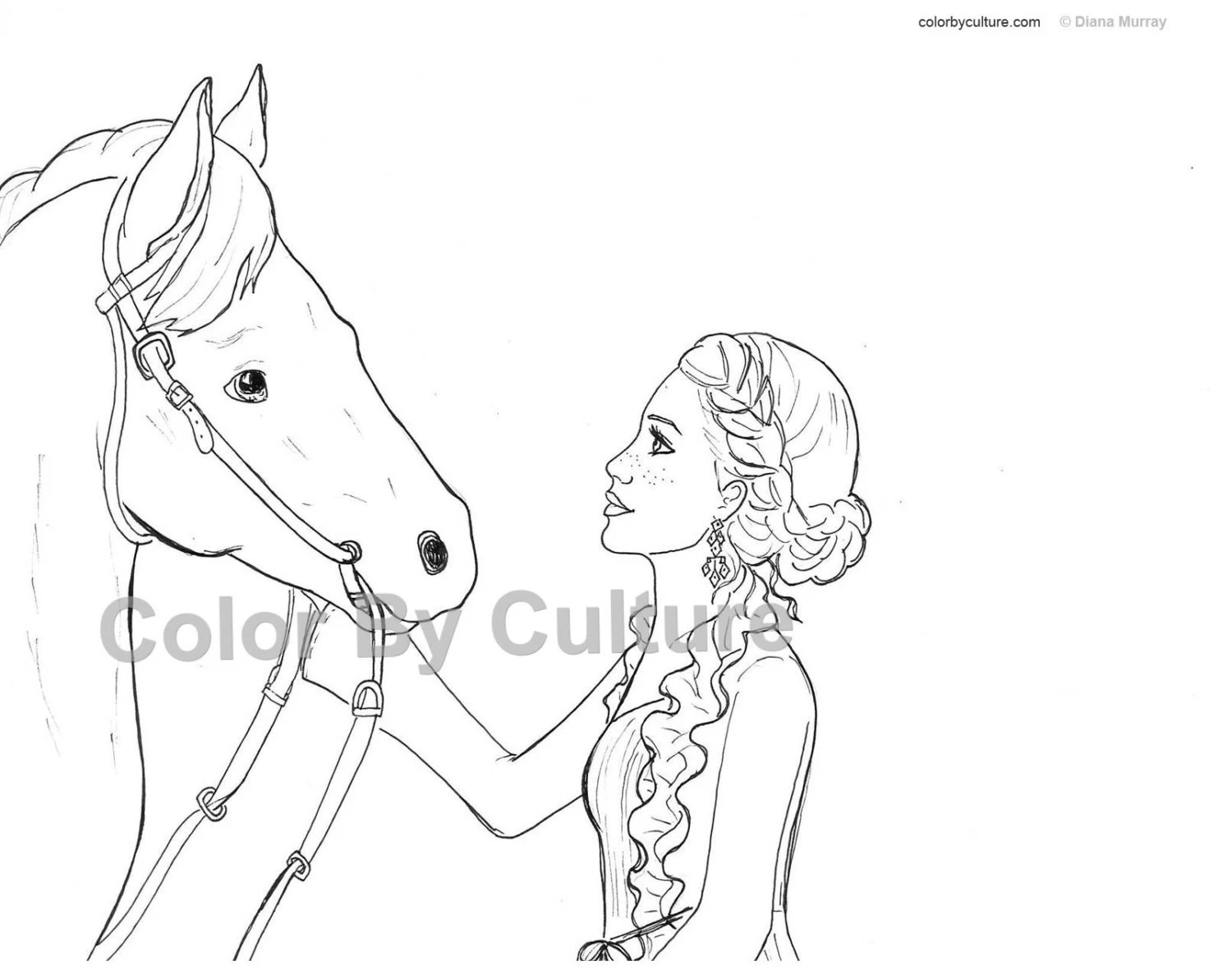 Horse and Girl Coloring Page Printable Coloring Page