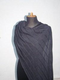 Shawl Wrap Merino Wool Charcoal Dark Gray Scarf Knitwear