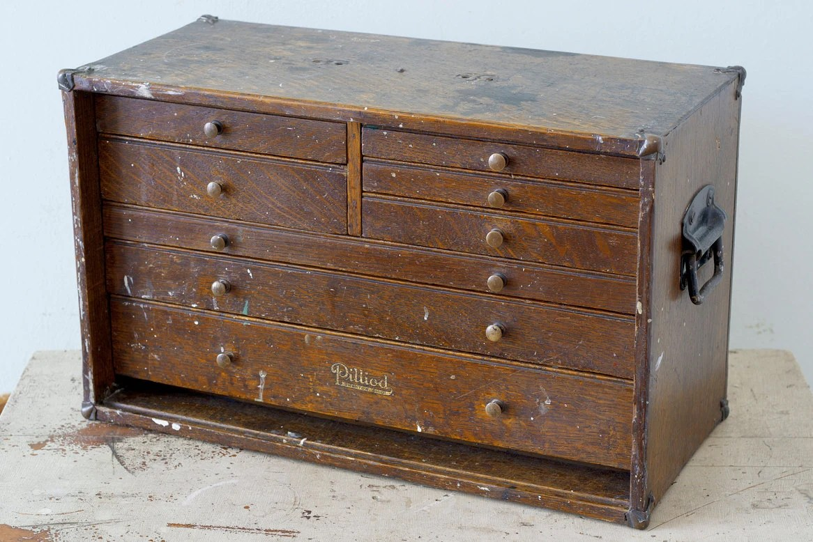 Wooden Chest Hardware ~ Vintage wooden tiger oak machinist drawer chest tool box