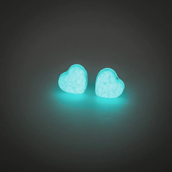 Glowing earrings glow in the dark heart earrings by