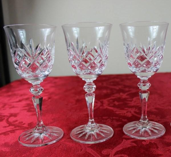 Set Of Three 3 Galway Irish Crystal White Wine Glasses