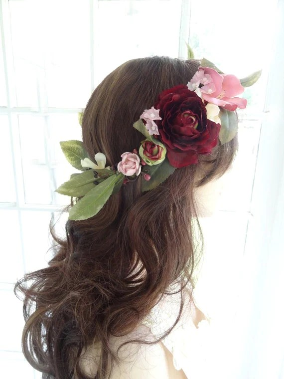 Flower Crown Wedding Floral Crown Bridal Marsala Wedding