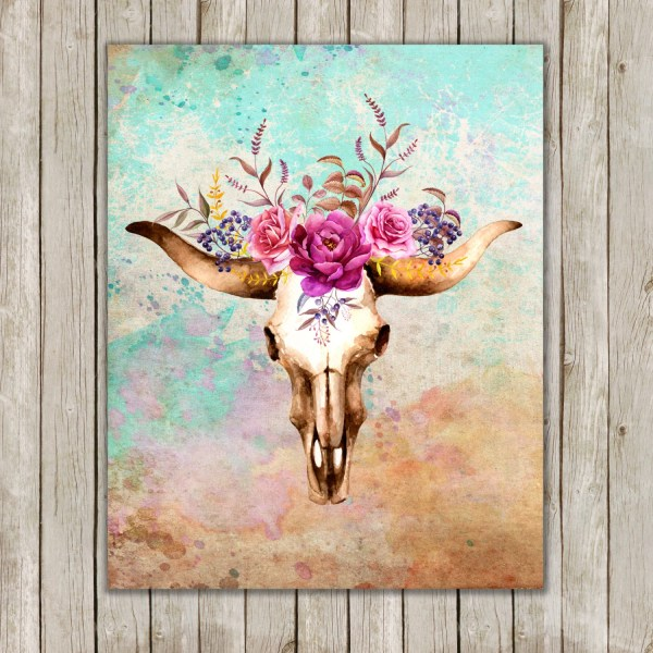 8x10 Watercolor Bull Skull Printable Art Poster Boho